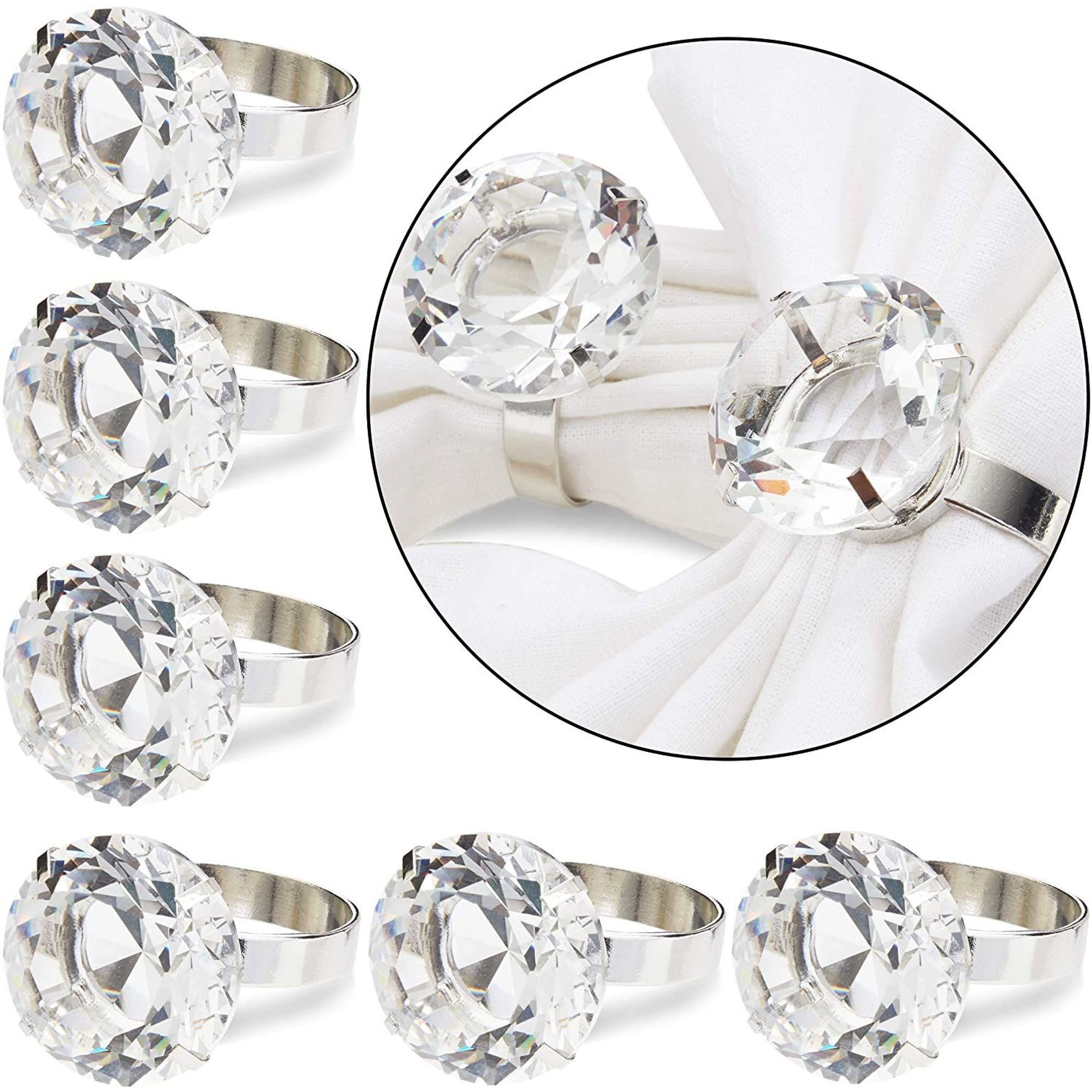 6 Pack Crystal Diamond Silver Napkin Rings For Wedding Banquet Party Dinner Table Decorations Walmart Com Walmart Com