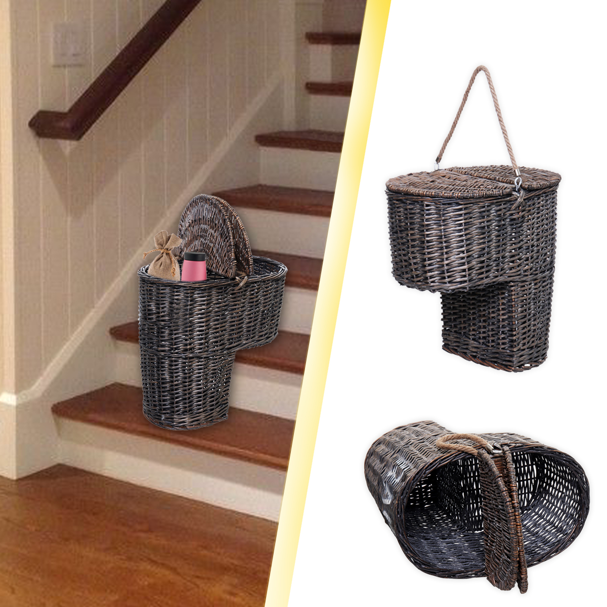 Genial Wicker Handwoven Stair Step Storage Box Basket Container Carry With Handle  Cover