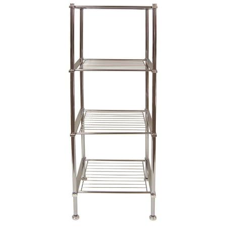 Bathroom Storage Shelf - Organize It All 4 Tier Chrome Freestanding Metro Bathroom Storage Shelf