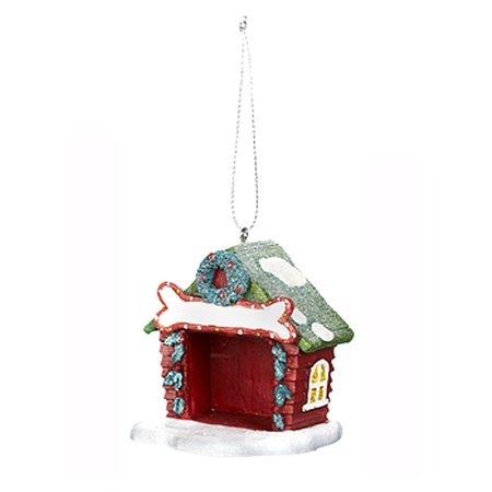 Santa's Furry Friends Doghouse Ornament: Bone Sign and Wreath - By