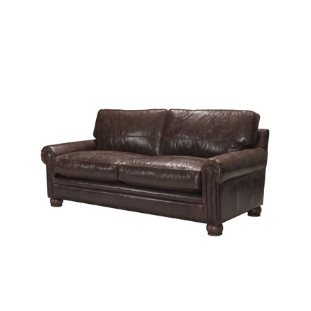 Acme Columbus Made Italy Top Grain Leather Sofa Vintage Espresso