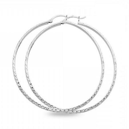 (14k White Gold Round Big Hoop Earrings Diamond Cut Polished French Lock Design Genuine 55 x 3 mm)