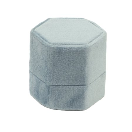 Koyal Wholesale Velvet Ring Box, Vintage Blue, Hexagon Vintage Ring Box with Detachable Lid, 2 Piece Engagement Ring Box - Wholesale Online Stores