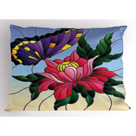 Aster Pillow Sham Stained Glass Pattern With Butterfly And A Flower