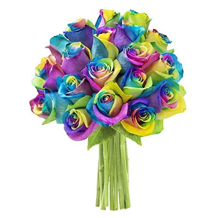 Kabloom Bouquet Of 18 Rainbow Roses Fresh Flowers For Delivery
