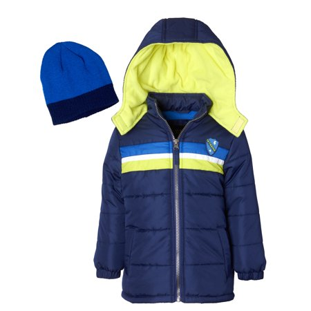 Hooded Chest Stripe Puffer Jacket Coat with Free Hat, 2pc Set (Toddler - Smoking Jacket Buy