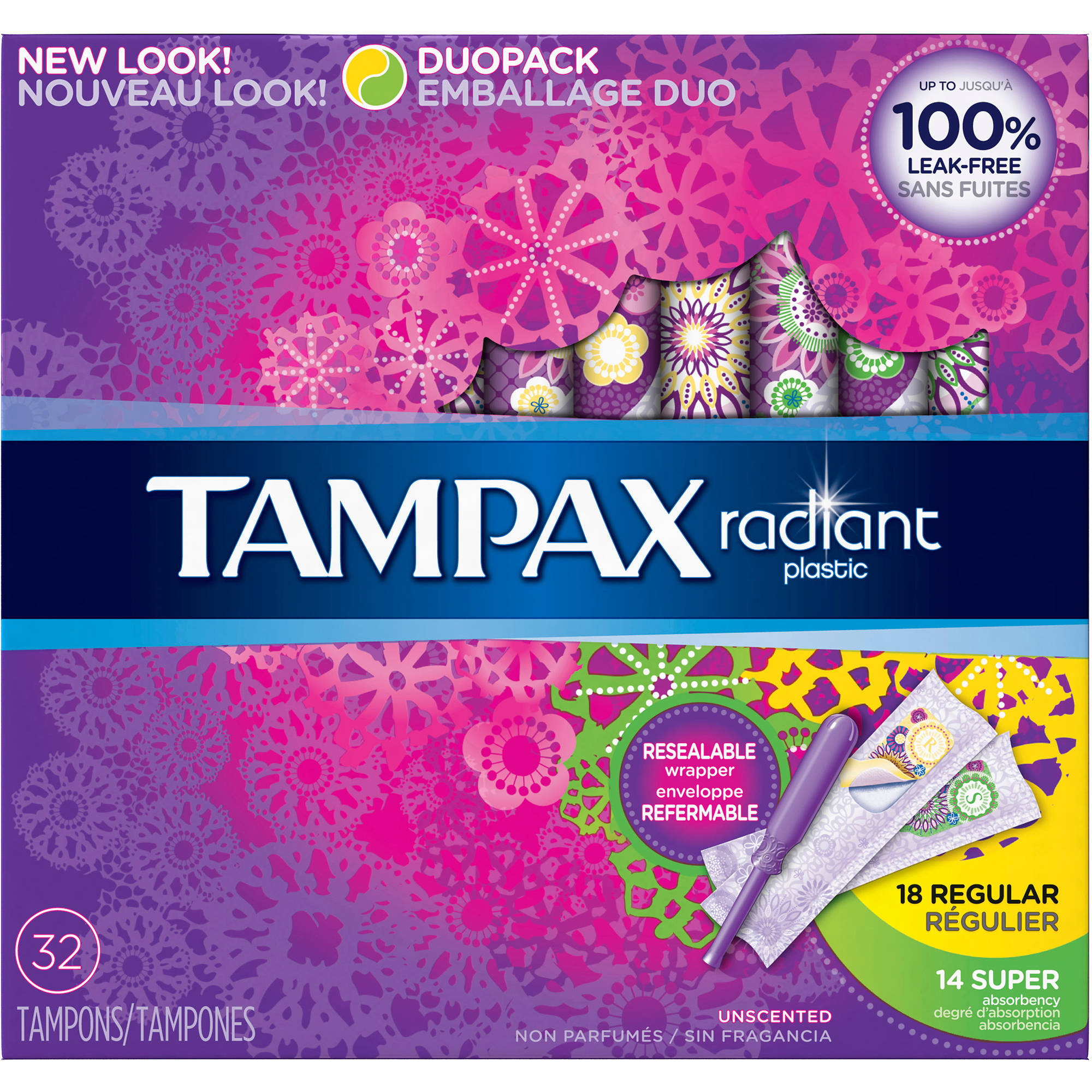 Tampax Radiant Plastic Unscented Mulitpax Absorbent Tampons, Regular/Super/Super Plus, (Choose your Count)