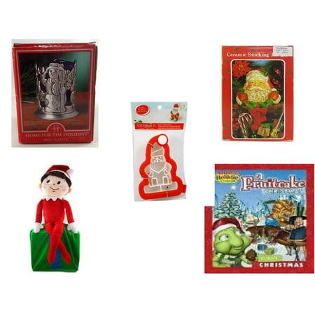 "Christmas Fun Gift Bundle [5 Piece] - Home For The s Snowman Votive Holder - Vintage Designed Stocking Hanger Santa - Celebrate It 3D Santa Cookie Cutter - Elf On Shelf Large  LARGE 24"" - A Fruitcak"