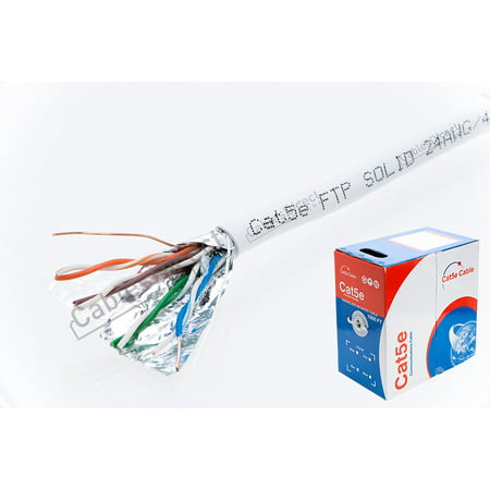 1000ft CAT5e FTP Shielded Solid 350Mhz Ethernet LAN Cable 24AWG RJ45 Network Wire Bulk Cat5 (Shielded (FTP), White)