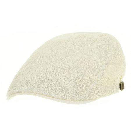 WITHMOONS Newsboy Hat Floral Lace Crochet Flat Cap LD3350 (Ivory)