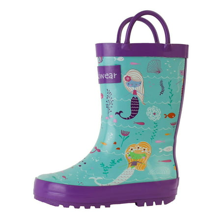 Oakiwear Kids Rain Boots For Boys Girls Toddlers Children, Mermaids - Sparkle Boots For Girls