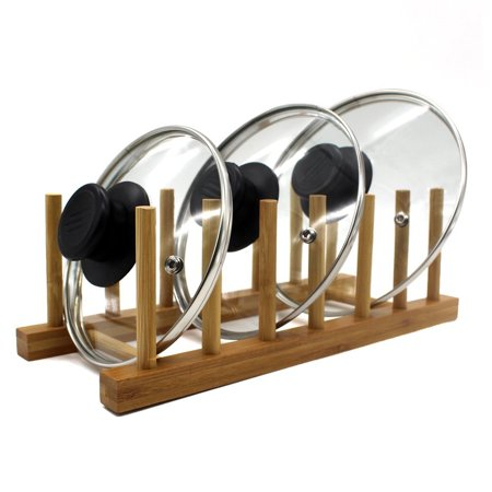 Pot Lid Organizers - Home Basics 6 Slot Bamboo Dish, Pan, Lid Storage Organizer Rack