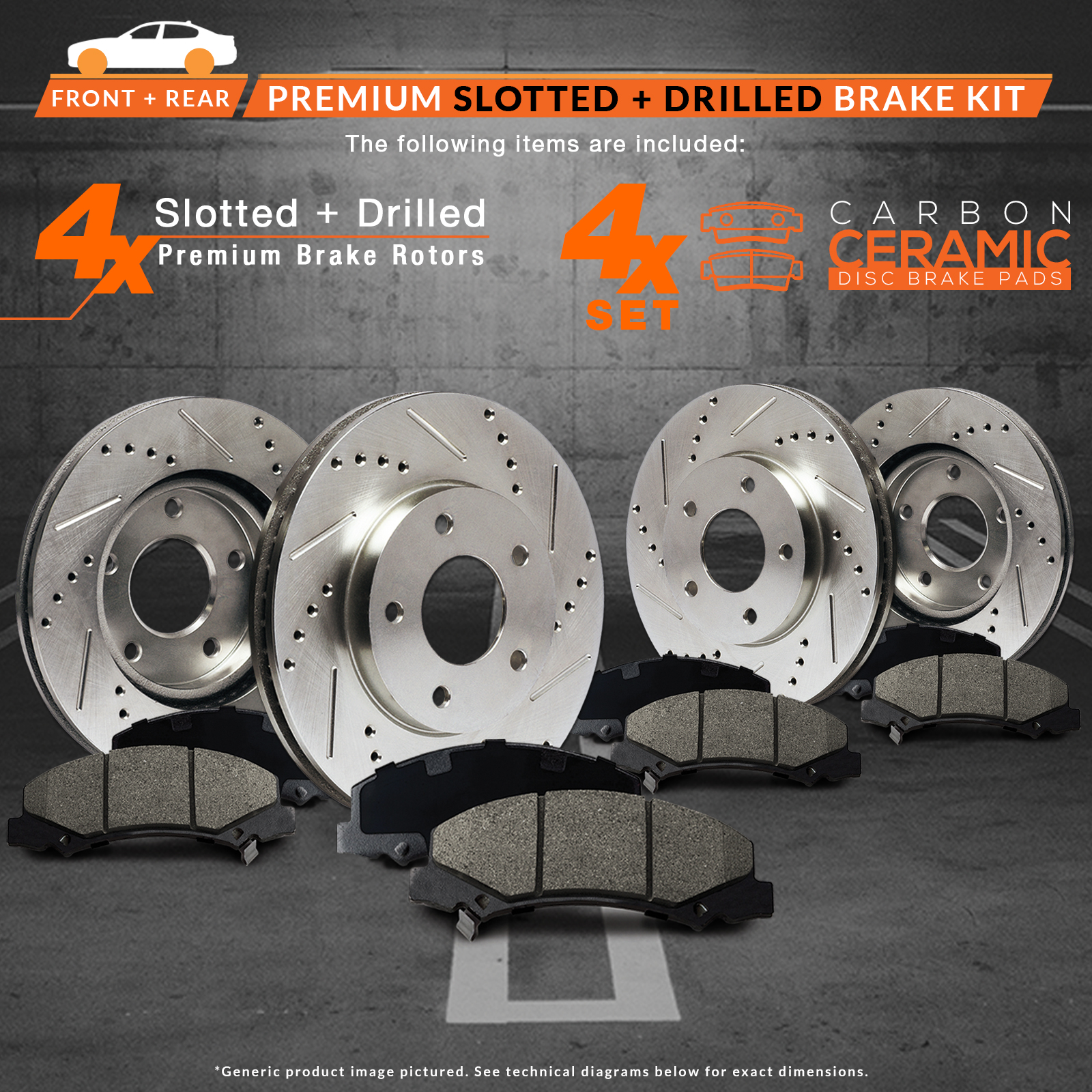 Premium Drilled /& Slotted Disc Brake Rotors and Ceramic Pad Front and Rear Set