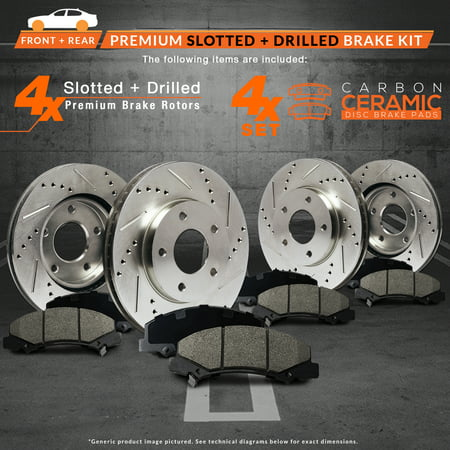 Max Brakes Front & Rear Performance Brake Kit [ Premium Slotted Drilled Rotors + Ceramic Pads ] KT148133 | Fits: 2011 11 2012 12 2013 13 Scion TC - image 4 of 8