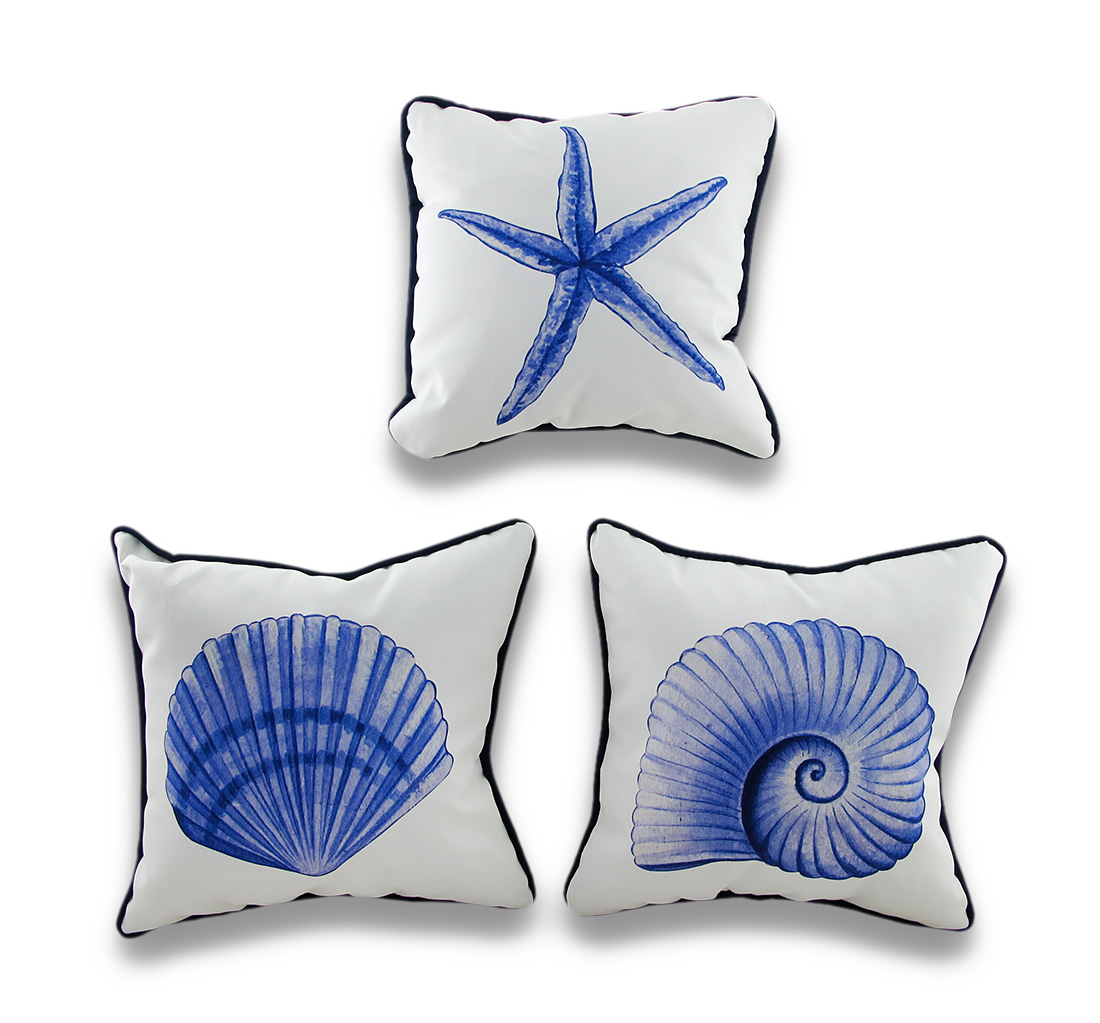 Set of 3 Blue-Violet Seashells Decorative Throw Pillows 10 Inch