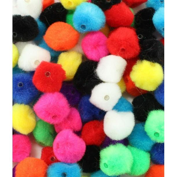 0.5 Inch Pom Pom Beads Assorted Colors 100 Pieces