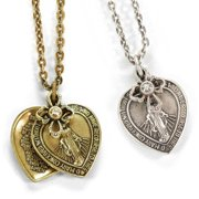 Sweet Romance  Lord's Prayer Miraculous Medal Virgin Mary Bangle Bracelet