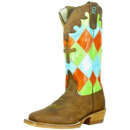 (Anderson Bean Western Boots Girls Cowboy Kids Patchwork Honey K7033)