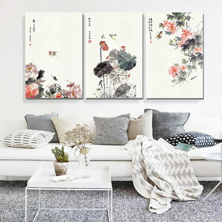 wall26-3 Panel Canvas Wall Art - Chinese Ink Painting of Flowers and Birds - Giclee Print Gallery Wrap Modern Home Decor Ready to Hang - 24