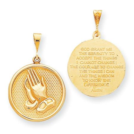 Praying Hands Brass - 10k Yellow Gold Praying hand Reversible with Serenity Prayer Pendant