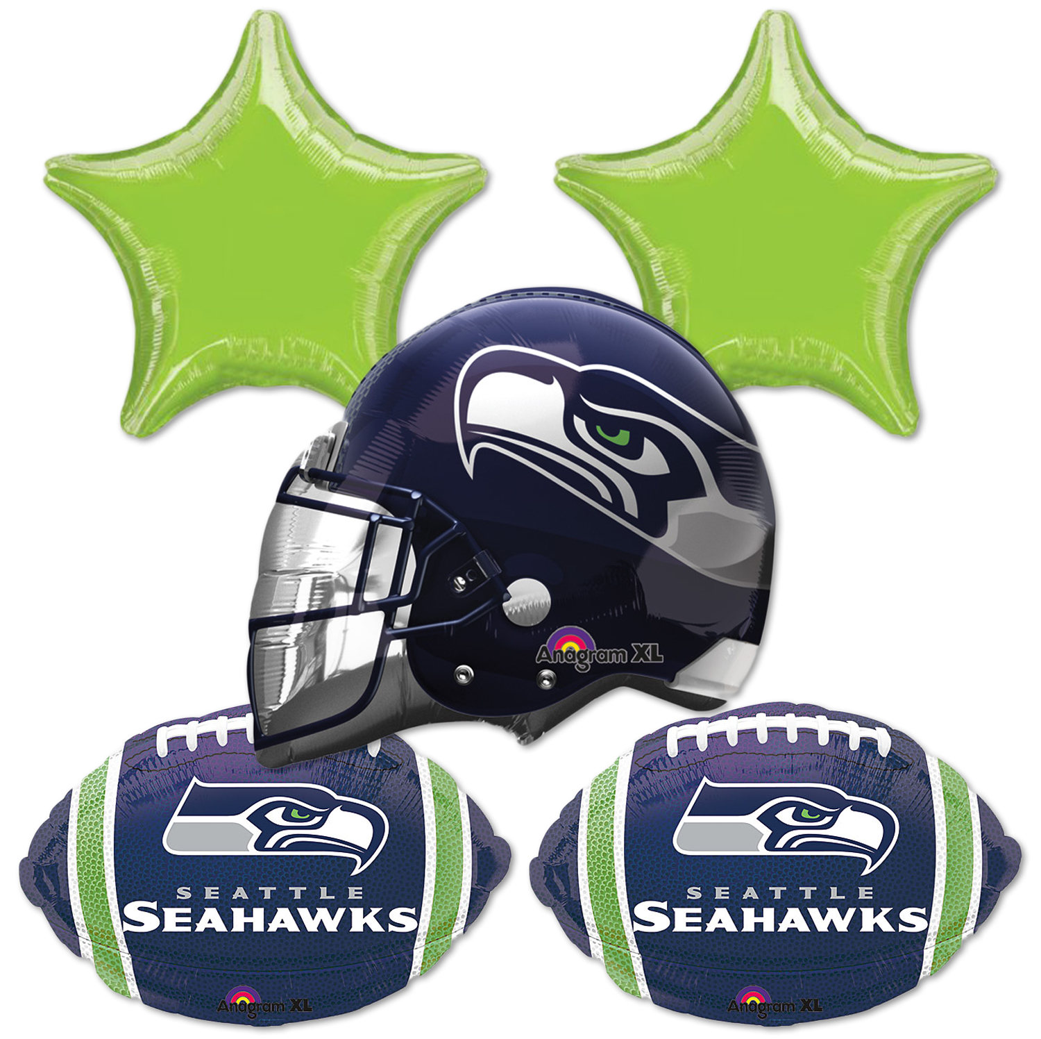 Anagram NFL Seattle Seahawks Football Bouquet 5pc Balloon Pack, Blue Green White
