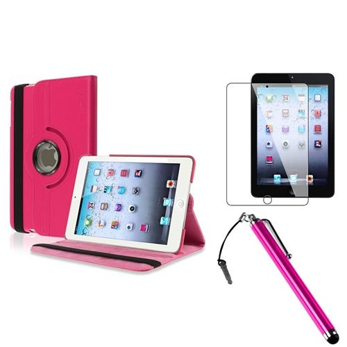 Insten For Apple iPad Mini 3 3rd / 2 2nd with Retina 360 Degree Rotating PU Leather Case Cover w Swivel Stand Hot Pink