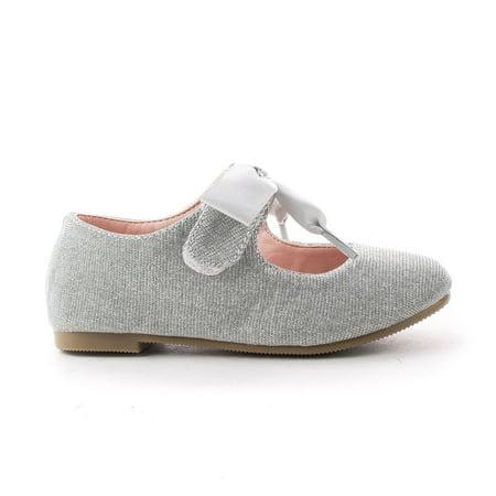 NayaIISQ by Happy Soda, Infant Girl Shimmering Velcro Bow Slip Mary Jane Dress Flats (Shimmer Flats)
