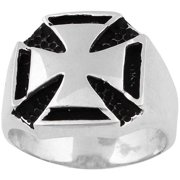 Sterling Silver Templar Iron Cross Ring 17