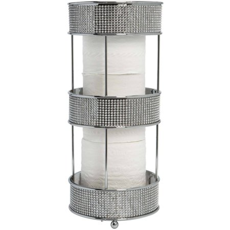 Bath Bliss Toilet Tissue Holder, Pave Diamond, Chrome