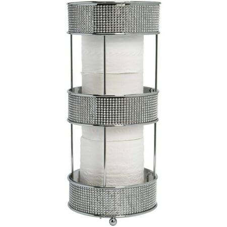 Bath Bliss Toilet Tissue Holder, Pave Diamond, Chrome Chrome Reserve Tissue Holder