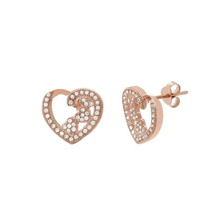 Cubic Zirconia Sterling Silver Heart Post Earrings