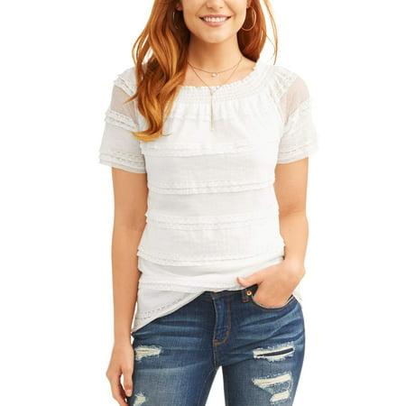 3c5c4c247bd Time and Tru - Women s Short Sleeve Smock Lace T-Shirt - Walmart.com