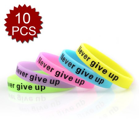 Gogo 10 Pcs Never Give Up Silicone Wristbands Glow In The Dark Rubber Bracelets Party Bands