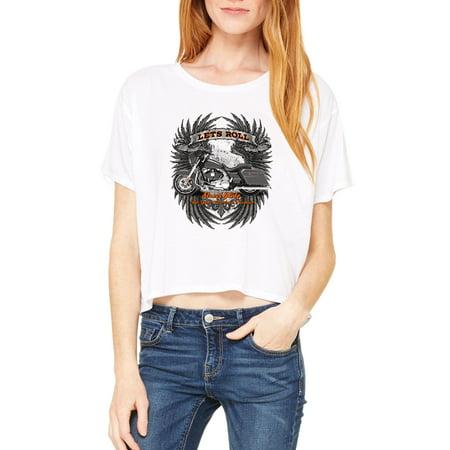6855b4f8 J_H_I - Biker T-Shirt Let'S Roll Street Glide Womens Shirts Flowy ...