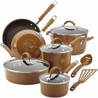 Rachael Ray Cucina Hard Enamel Nonstick 12-Piece Cookware Set, Agave Blue