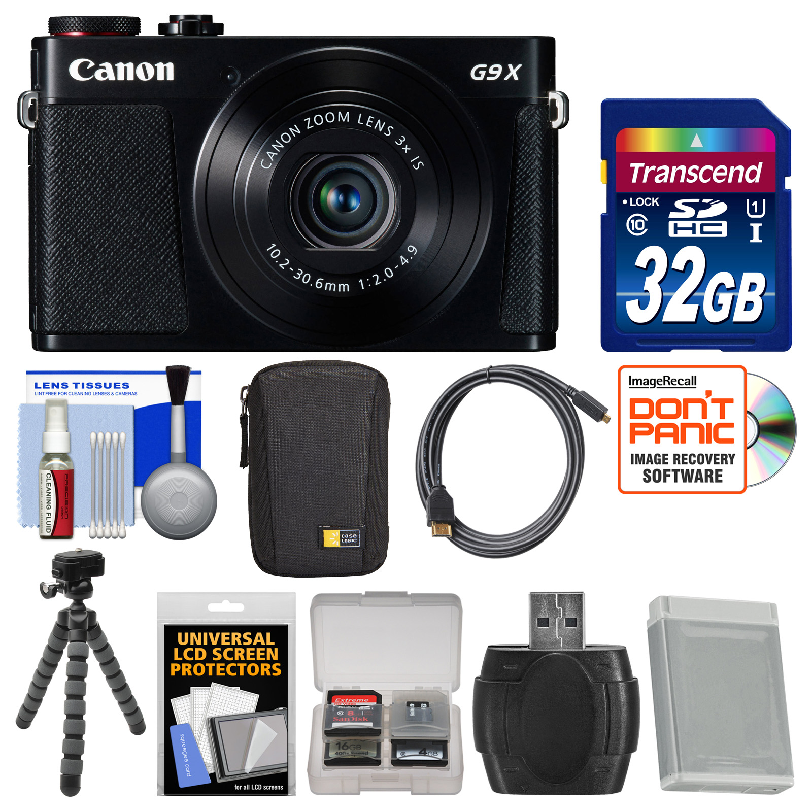 Canon PowerShot G9 X Wi-Fi Digital Camera (Black) with 32GB Card + Case + Battery + Flex Tripod + Kit
