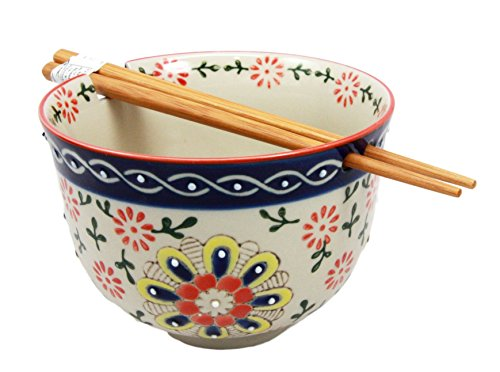 Atlantic Collectibles Japanese Four Seasons Ceramic Ramen Udong Noodle Soup Bowl and Chopsticks Set (Summer... by Atlantic CollectibleS
