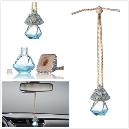 Car Mirror Hanging Decoration, MINI-FACTORY Bling Blue Crystal Diamond Bottle for Car - Blue Diamond Bling