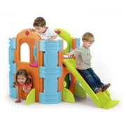 ECR4Kids Activity Park Playhouse for Kids, Indoor Outdoor Play House with Slide or Climb Stairs