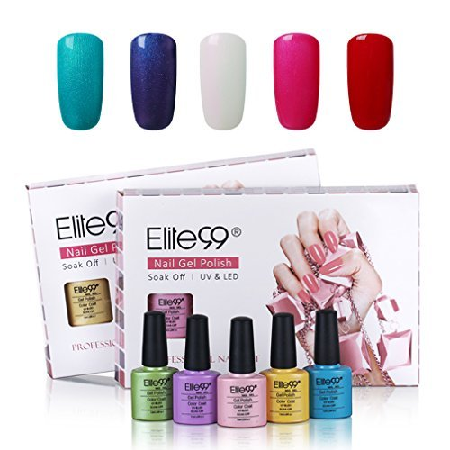 Gel Nail Polish Set, Elite99 Soak Off UV LED Gel Polish Nail Art Manicure Varnish 5PCS Gift Box C035