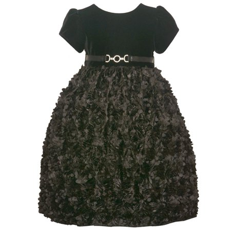 American Princess Little Girls Black 3D Floral Adorned Occasion Dress