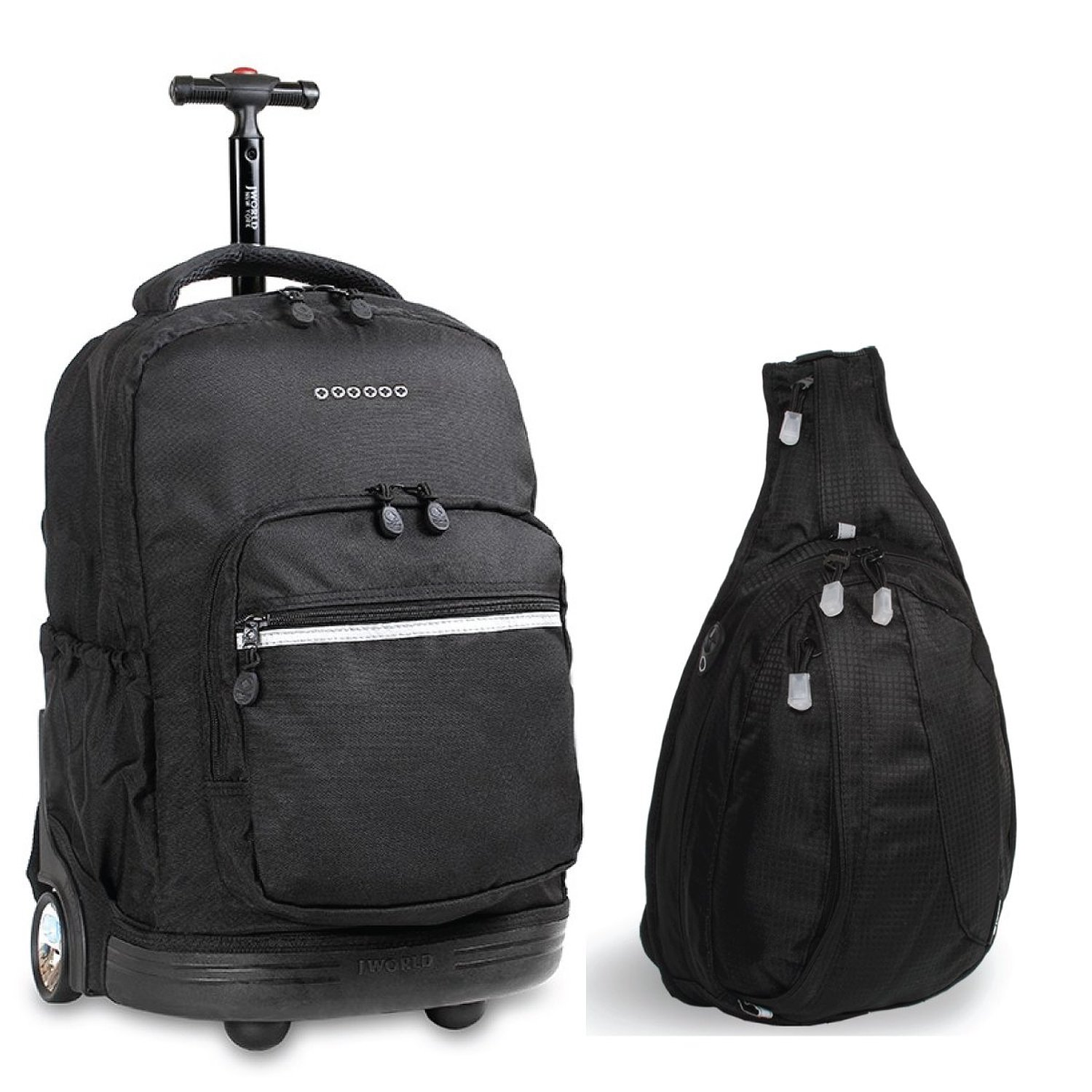 J World New York Sunrise Rolling Backpack & Stacy Sling Backpack Set (Black &...