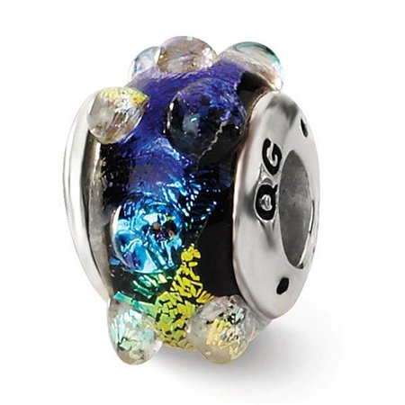 Reflection Beads QRS1467 Sterling Silver Rainbow Dichroic Glass Bead - image 1 de 1