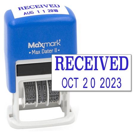MaxMark Self-Inking Rubber Date Office Stamp with RECEIVED Phrase & Date - BLUE INK (Max Dater II) (Recieved Stamp With Date)