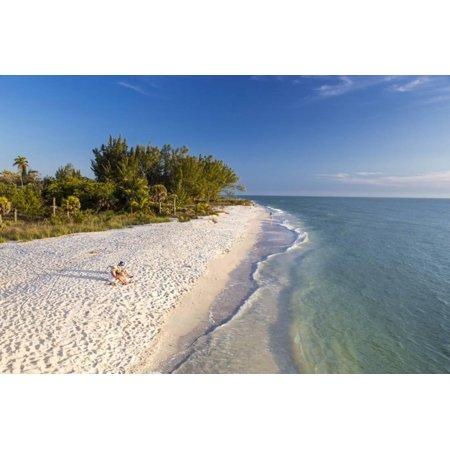 White Sand Beach at Sunset on Sanibel Island, Florida, USA Print Wall Art By Chuck Haney