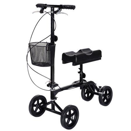 Costway Steerable Foldable Knee Walker Scooter Turning Brake Basket Drive Cart