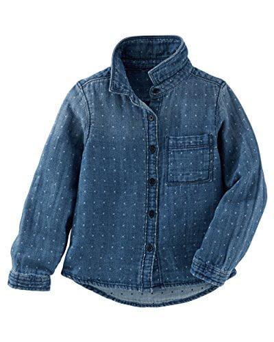 OshKosh B'gosh Little Girls' Dotted Denim Button-Front Top, 4-Toddler