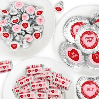 Valentine\u2019s Day Candy Favor Sticker Kit Conversation Hearts Round Candy Stickers and Circle Stickers 304 Pcs Mini Candy Bar Wrappers