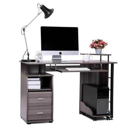 Merax Computer Desk with Printer Platform Keyboard Tray Drawers and Mobile CPU Holder (Gray) ()