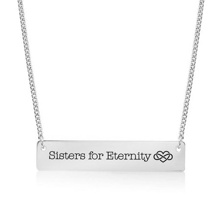 Silver Plated Sisters For Eternity Bar Necklace ()